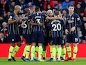 Manchester City players celebrate scoring against Southampton on December 30, 2018
