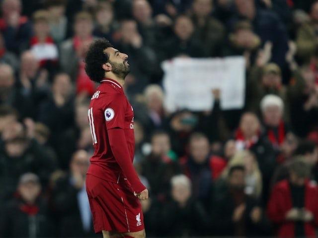 Liverpool attacker Mohamed Salah celebrates scoring against Newcastle United on December 26, 2018