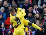 N'Golo Kante celebrates scoring the opening goal for Chelsea against Crystal Palace.
