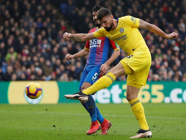 Olivier Giroud volleys home for Chelsea but sees his goal against Crystal Palace disallowed.