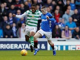 Celtic midfielder Olivier Ntcham in action with Rangers attacker Ryan Kent on December 29, 2018.