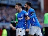 Rangers midfielder Ryan Jack celebrates scoring their first goal against Celtic on December 29, 2018.