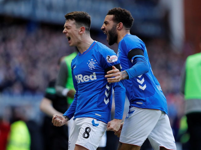 Rangers midfielder Ryan Jack celebrates scoring their first goal against Celtic on December 29, 2018.