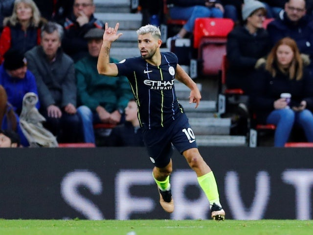 Manchester City striker Sergio Aguero celebrates scoring against Southampton on December 30, 2018