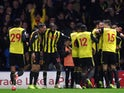 Watford celebrate their equaliser against Chelsea in the Premier League on December 26, 2018.