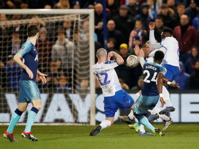 Serge Aurier fires Tottenham Hotspur ahead in their FA Cup third-round tie against Tranmere Rovers on January 4, 2019