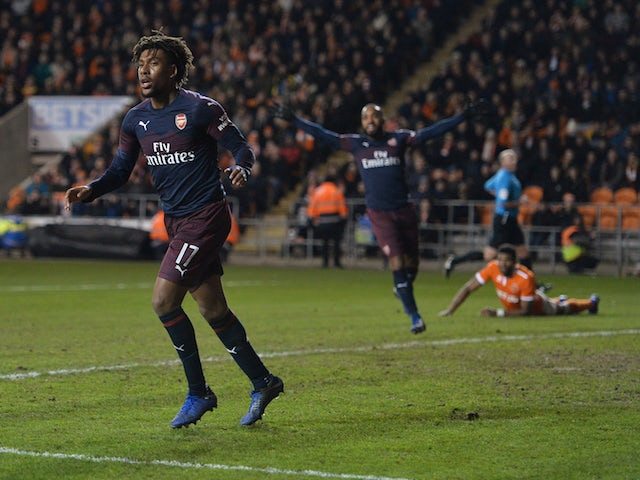 Arsenal's Alex Iwobi celebrates scoring against Blackpool in the FA Cup third round on January 5, 2018