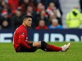 Alexis Sanchez goes down injured during the FA Cup third-round game between Manchester United and Reading on January 5, 2019