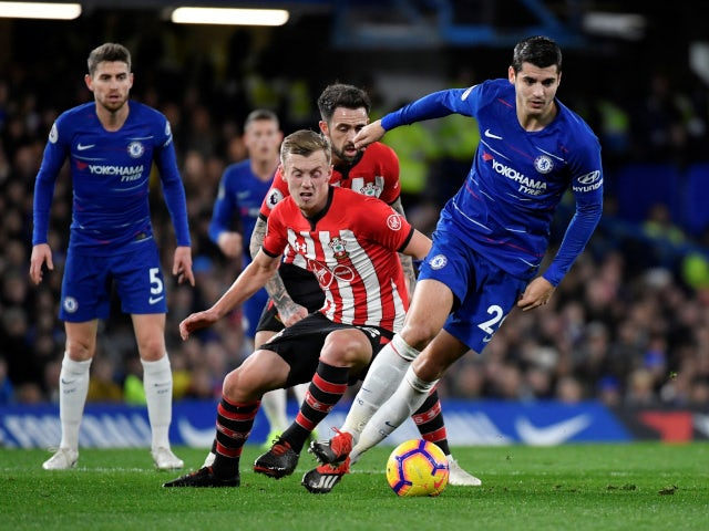 Chelsea's Alvaro Morata attempts to make use of possession against Southampton in the Premier League on January 2, 2019.
