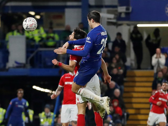 Alvaro Morata scores the second during the FA Cup third-round game between Chelsea and Nottingham Forest on January 5, 2019