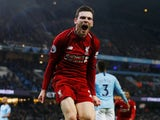 Andrew Robertson celebrates Roberto Firmino's goal for Liverpool on January 3, 2019