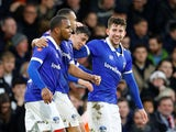 Callum Lang celebrates scoring with Oldham teammates on January 6, 2019