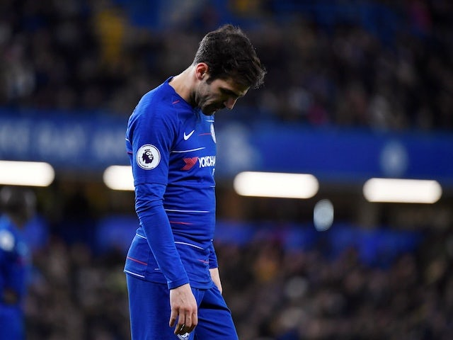 Chelsea midfielder Cesc Fabregas hangs his head during the Premier League match against Southampton on January 2, 2019