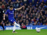 Cesc Fabregas misses a penalty during the FA Cup third-round game between Chelsea and Nottingham Forest on January 5, 2019