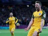 Dale Stephens celebrates scoring for Brighton on January 2, 2018