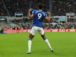 Everton forward Dominic Calvert-Lewin celebrates scoring against Newcastle United in the Premier League on December 28, 2019