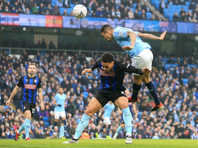 Gabriel Jesus misses a chance during the FA Cup third-round game between Manchester City and Rotherham United on January 6, 2019