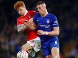 Jack Colback and Ross Barkley in action together during the FA Cup third-round game between Chelsea and Nottingham Forest on January 5, 2019