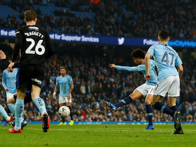 Leroy Sane wraps up the scoring during the FA Cup third-round game between Manchester City and Rotherham United on January 6, 2019