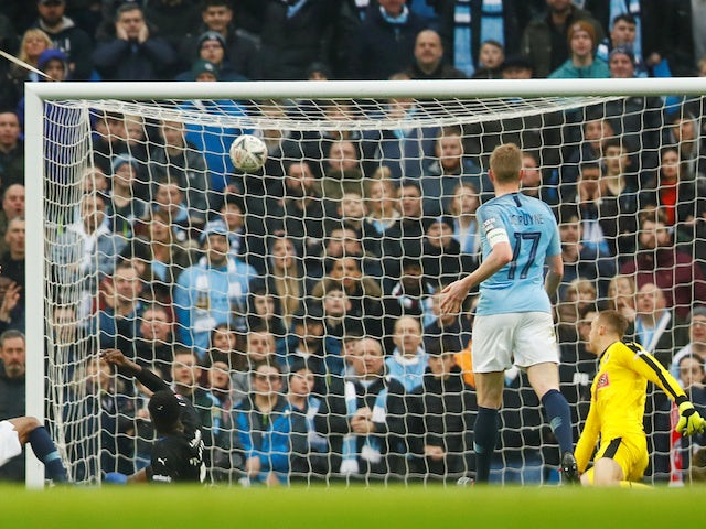 Semi Ajayi scores an own goal during the FA Cup third-round game between Manchester City and Rotherham United on January 6, 2019