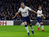 Harry Kane celebrates scoring for Tottenham Hotspur against Cardiff City on January 1, 2019.