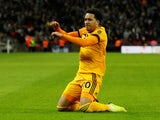 Helder Costa celebrates scoring for Wolves against Spurs on December 29, 2018