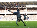 Jamie Vardy celebrates scoring during the Premier League game between Everton and Leicester City on January 1, 2019