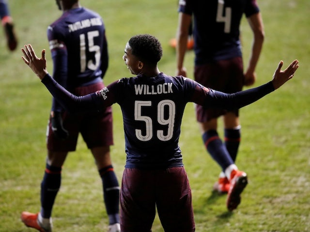 Arsenal attacker Joe Willock celebrates scoring against Blackpool in the FA Cup on January 5, 2018