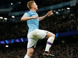 Kevin De Bruyne celebrates scoring for Manchester City on December 29, 2019