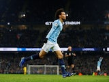 Leroy Sane celebrates putting his side back ahead during the Premier League game between Manchester City and Liverpool on January 3, 2019