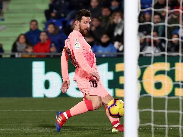 Barcelona forward Lionel Messi scores against Getafe on January 6, 2019.