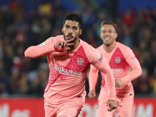 Barcelona forward Luis Suarez celebrates scoring against Getafe on January 6, 2019.