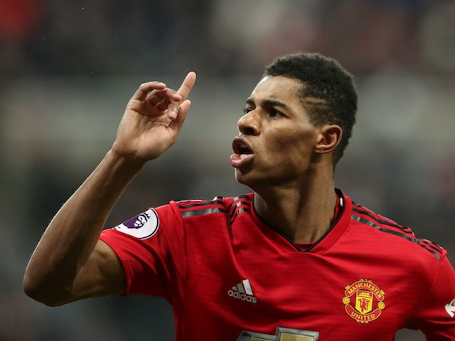 Manchester United's Marcus Rashford celebrates scoring against Newcastle United in the Premier League on January 2, 2019.