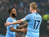 Raheem Sterling celebrates scoring with Kevin De Bruyne during the FA Cup third-round game between Manchester City and Rotherham United on January 6, 2019