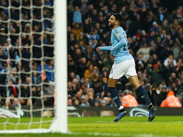 Riyad Mahrez celebrates scoring the fifth during the FA Cup third-round game between Manchester City and Rotherham United on January 6, 2019