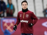 Samir Nasri warms up for West Ham United on January 2, 2019