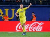 Santi Cazorla celebrates scoring for Villarreal against Real Madrid on January 3, 2019.