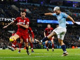 Sergio Aguero scores the opener during the Premier League game between Manchester City and Liverpool on January 3, 2019