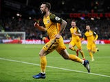 Shane Duffy celebrates scoring for Brighton on January 2, 2018