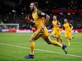 Shane Duffy celebrates scoring for Brighton on January 2, 2018