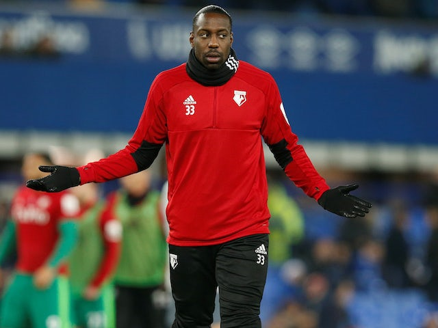 Stefano Okaka warms up for Watford on December 10, 2018