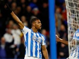 Steve Mounie celebrates scoring for Huddersfield Town on January 2, 2019