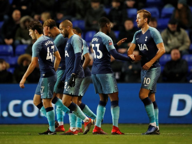 Harry Kane is congratulated by his teammates after scoring Tottenham Hotspur's seventh goal in the FA Cup tie against Tranmere Rovers on January 4, 2019