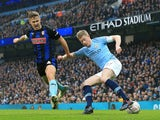 Will Vaulks attempts to take on Kevin De Bruyne during the FA Cup third-round game between Manchester City and Rotherham United on January 6, 2019