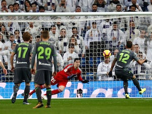 Real Sociedad's Willian Jose scores against Real Madrid in La Liga on January 6, 2019.