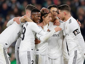Real Madrid celebrate their opening goal against Real Betis in La Liga on January 13, 2019.