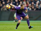 Arsenal goalkeeper Bernd Leno in action during his side's Premier League clash with West Ham on January 12, 2019