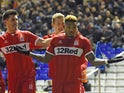 Middlesbrough striker Britt Assombalonga celebrates after scoring against Birmingham City on January 12, 2019