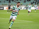 Sporting Lisbon midfielder Bruno Fernandes celebrates after scoring during a Europa League group game in November 2018
