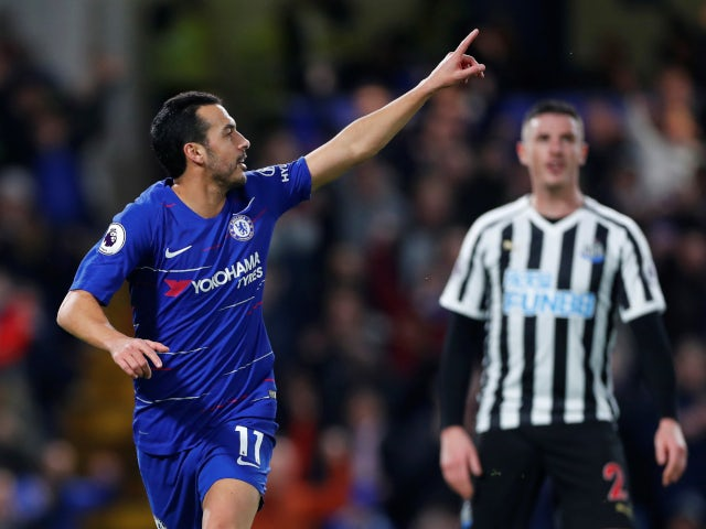 Chelsea forward Pedro celebrates scoring against Newcastle United on January 12, 2019